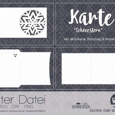 """Plotter-Datei """"Karte - Schneestern"""" inkl. Umschlag bei Makerist"""