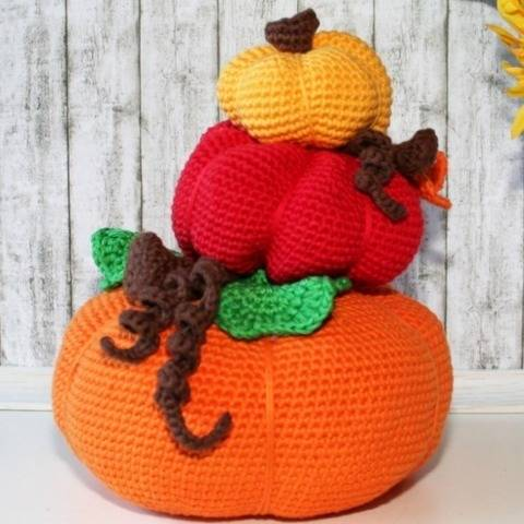 Pumpkin Stack - Doorstop, Fall Decoration - Crochet Pattern