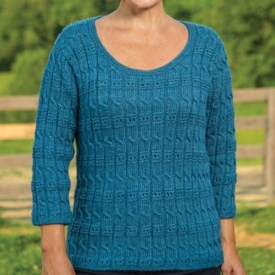 Cable and Eyelet Pullover #186 at Makerist - Image 1