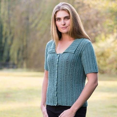 Double Eyelet Cardigan in 2 Sleeve Lengths #176 at Makerist
