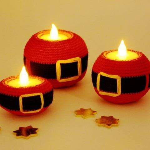 Tealight Holder - Santa - Crochet Pattern