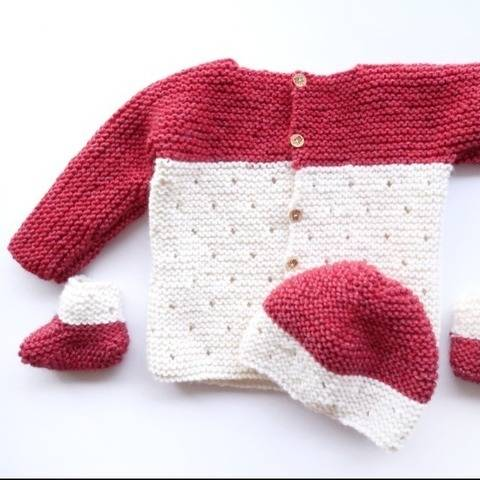 Baby Knitting Pattern Set: Hat, booties, sweater & blanket at Makerist