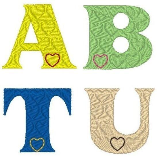 stickdatei buchstaben herz  alphabet 3 und 5cm