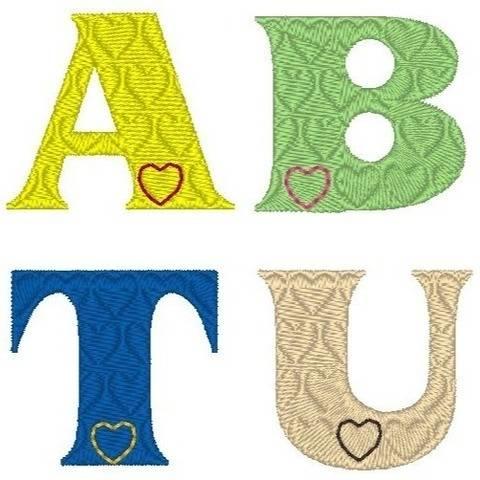 Stickdatei Buchstaben Herz - Alphabet 3 und 5cm