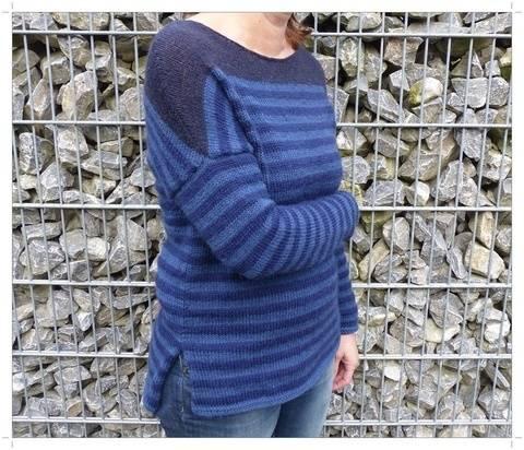 Streifen-Pullover, Strickanleitung Größe S - L