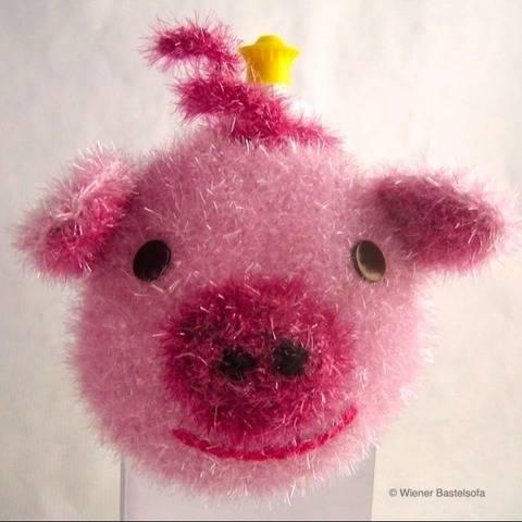 Spülschwamm Schweinchen zum Aufhängen auf Spüliflasche Glück