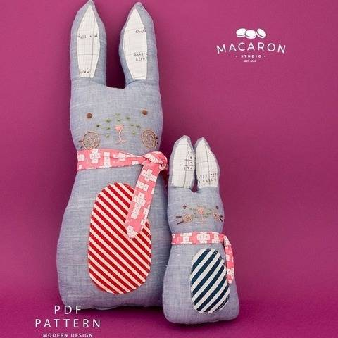 Cuddly Blue Rabbit and Bunny Dolls PDF Pattern (#2724) at Makerist