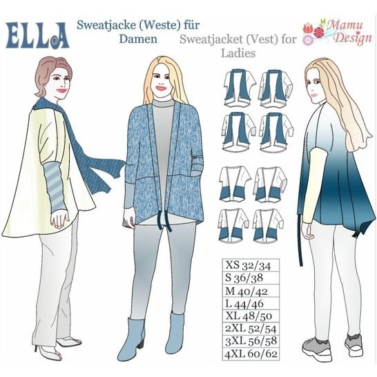 Ella Pattern Jacket Vest Woman Ladies XS-4XL bei Makerist - Bild 1