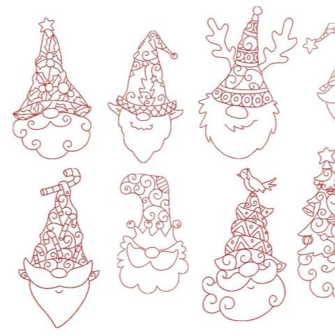Stickdatei - Stylish xmas Gnomes LineArt