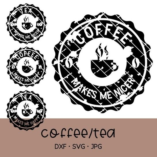 Cutting file coffee & tea, for cups and presents, used look at Makerist - Image 1