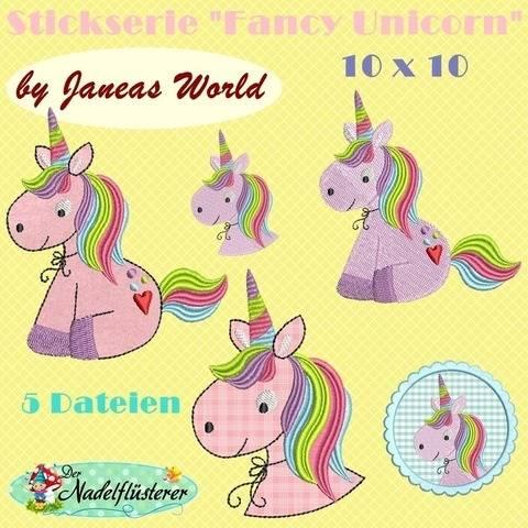 Digitale Stickserie JW Fancy Unicorn 10x10  bei Makerist