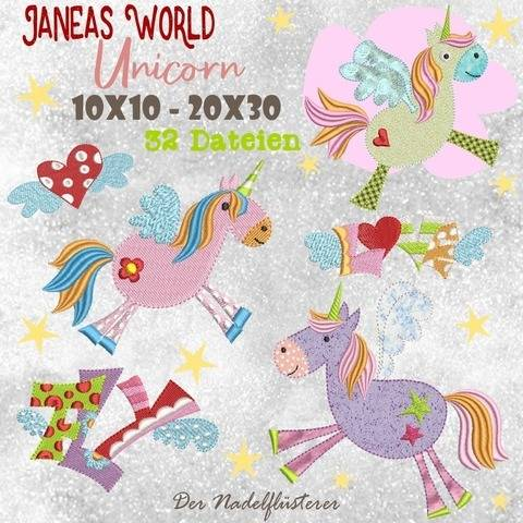 Digitale Stickserie JW Unicorn 10x10 - 20x30  bei Makerist