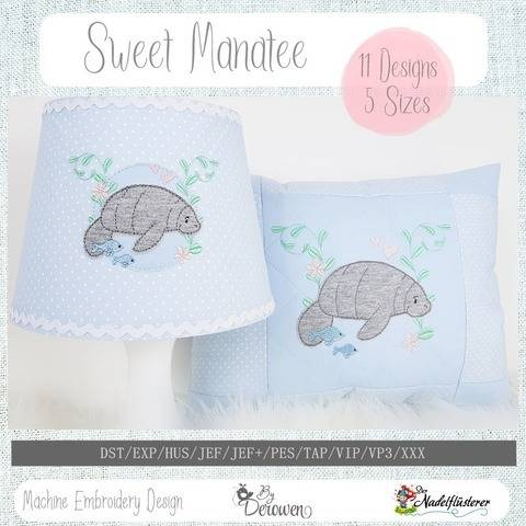 Digitale Stickdatei Sweet Manatee 10x10 - 20x30 bei Makerist