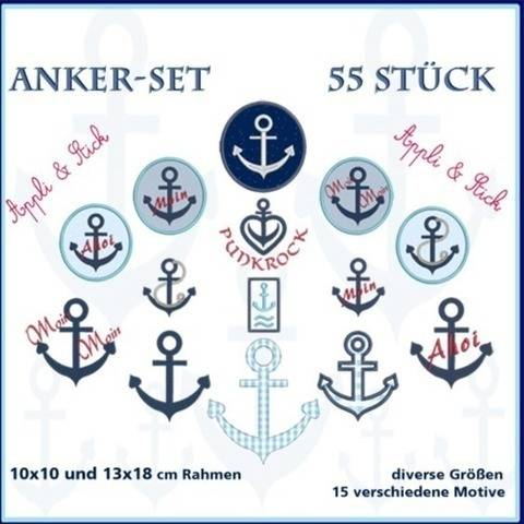 Stickdateien Set1 Anker Anchor Maritim 55x ab 10x10 bei Makerist