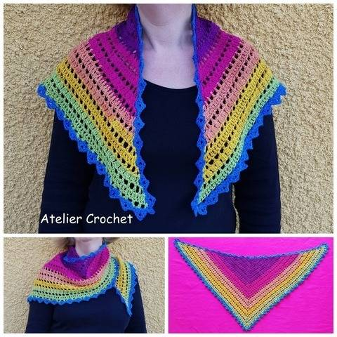 """Rainbow"" - Crochet Shawlet at Makerist"