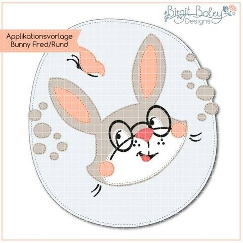 Birgit Boley Designs • Applikationsvorlage Bunny Fred Rund