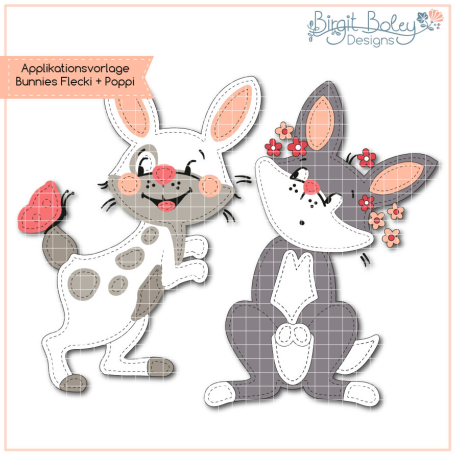 Birgit Boley Designs • Appliv. Bunnies FleckiundPoppy