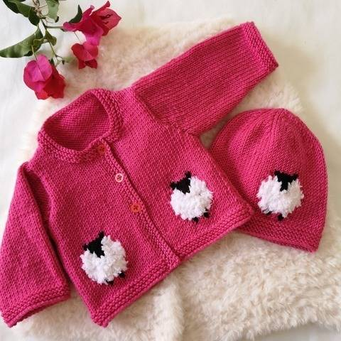 Baby Sheep Cardigan and Hat at Makerist