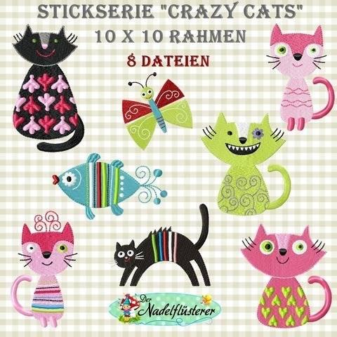 Digitale Stickserie Crazy Cats 10x10