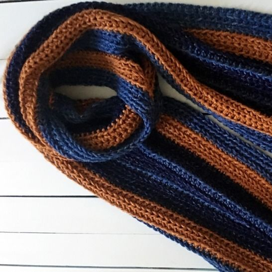 Crochet Scarf Pattern PDF (Easy Strapping Striped Man Scarf) at Makerist - Image 1