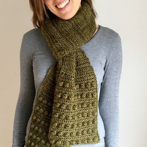 Crochet Womens Scarf Pattern PDF (Bobble Beauty Scarf) at Makerist