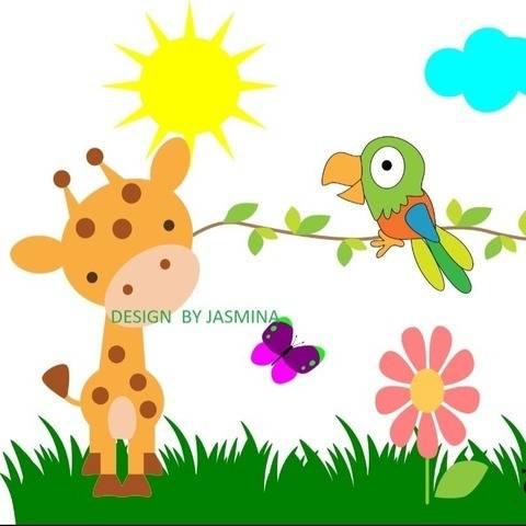 Plotterdatei  Giraffe Papagei Dschungel  SVG