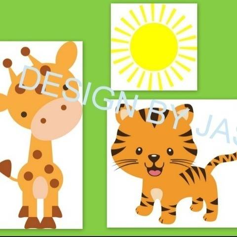 Plotterdatei  Giraffe Tiger Papagei Sonne  SVG bei Makerist