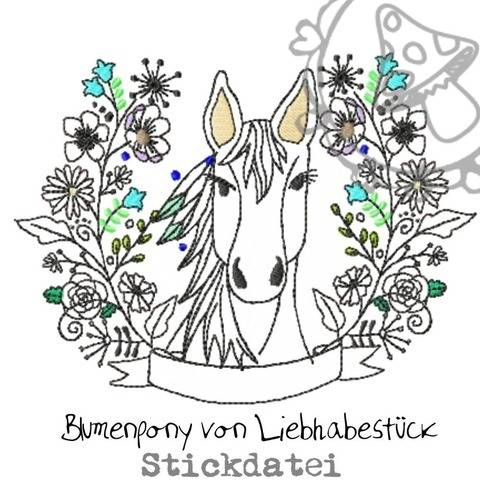 Stickdatei Blumenpony