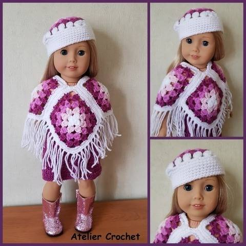 """Poncho"" crochet pattern for American Girl"