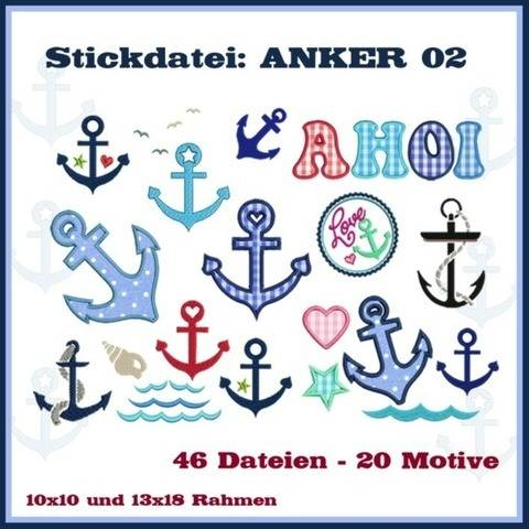 Stickdateien Set2 Anker maritim anchor 46x ab 10cm bei Makerist