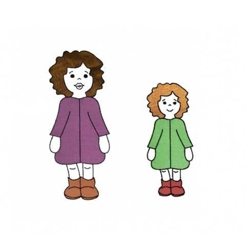 Stickdatei Mädchen mit Locken, Applikation zwei Größen bei Makerist