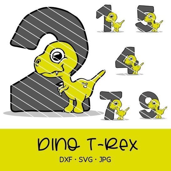 Cutting file cute dino t-rex for birthday with numbers 0-9 at Makerist - Image 1