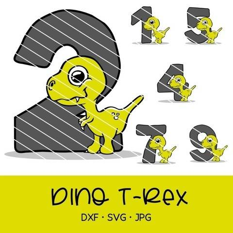 Cutting file cute dino t-rex for birthday with numbers 0-9