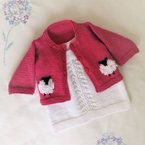 Baby Sheep Cardigan and Dress