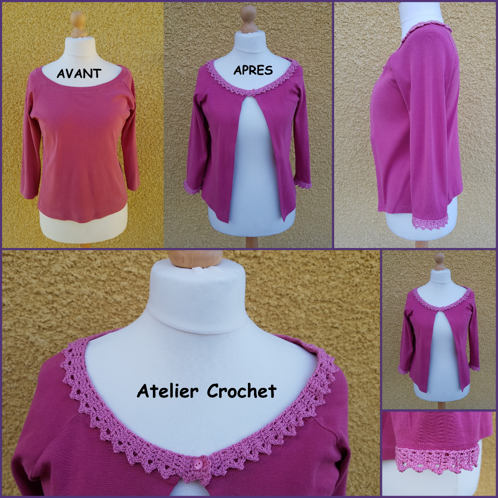 "Gilet upcycling crochet et couture ""Constance"""