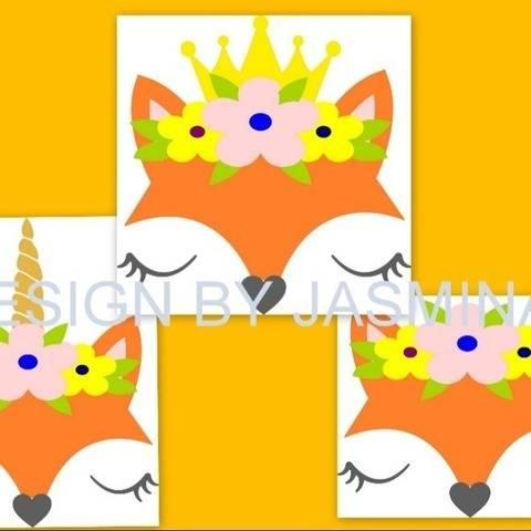 Plotterdatei  Fuchs mit  Blumen Krone Einhorn SVG