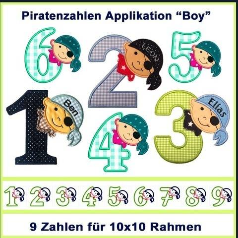 Stickdateien Piratenzahlen 1-9 Boy  9x ab 10cm