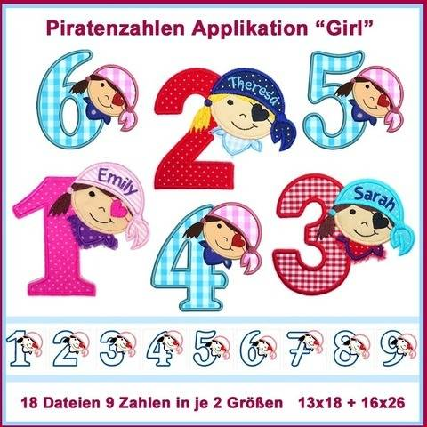 Stickdateien Piratenzahlen 1-9 Girls XXL 18x ab 13x18 cm