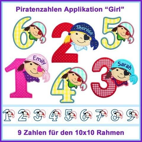 Stickdateien Piratenzahlen 1-9 Girl 9x ab 10cm