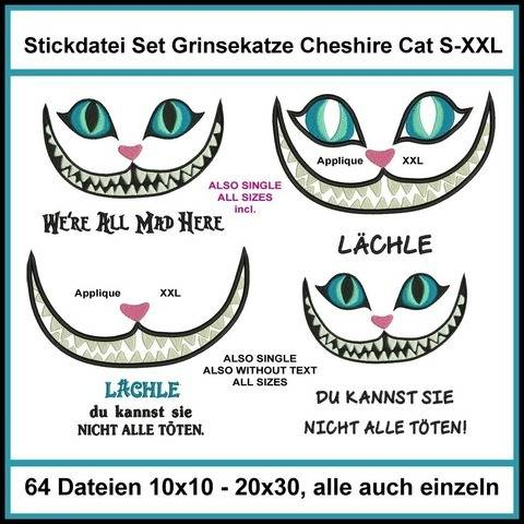 Stickdatei Set Grinsekatze Cheshire Cat Alice 64xab 10cm
