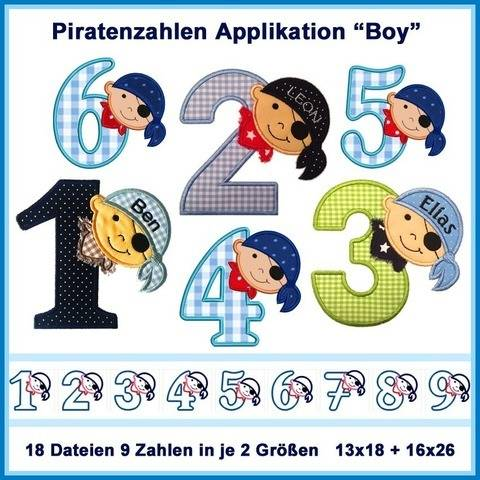 Stickdateien Piratenzahlen 1-9 Boy XXL 18x ab 13x18cm