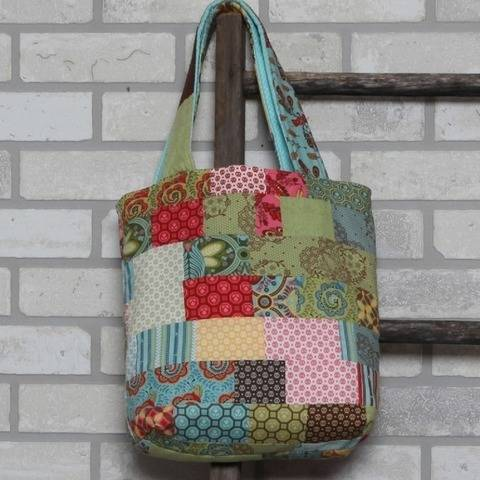 "Patchwork Bag  Quilt - PDF Sewing, 12"" tall"