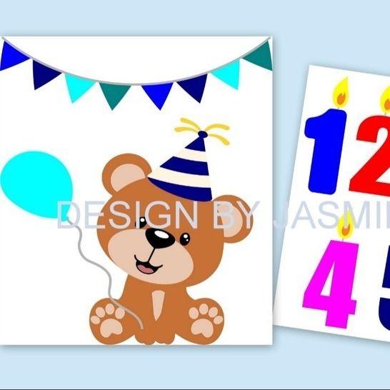 Plotterdatei  SVG  Teddy Bär Geburtstag bei Makerist - Bild 1