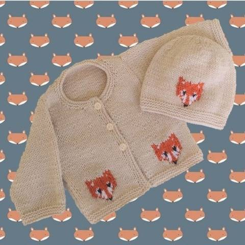 Baby Fox Cardigan and Hat