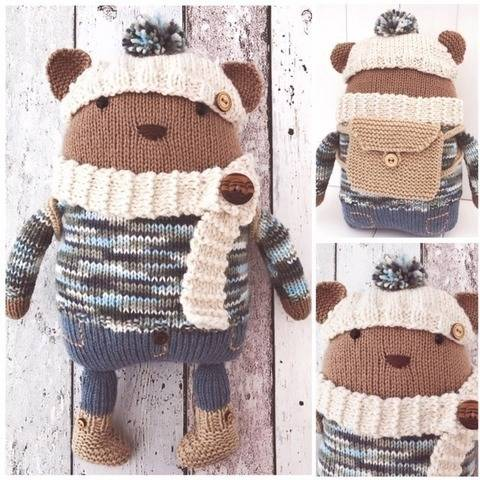 Hand Knitted Teddy Bear 'Theo' with Accessories PDF