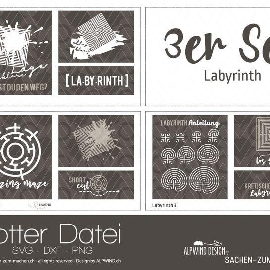 "Plotter-Datei ""Labyrinth"" (3er-Set) bei Makerist - Bild 1"