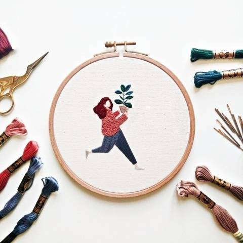 Plant Lady Embroidery Pattern PDF