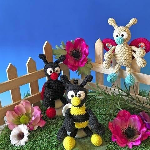 Häkelanleitung Biene, Marienkäfer, Schmetterling Amigurumi bei Makerist