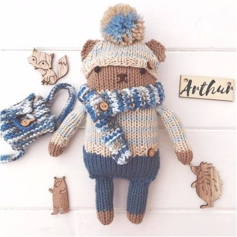 Knitted Mini Teddy Bear Cub Toy 'Arthur' PDF