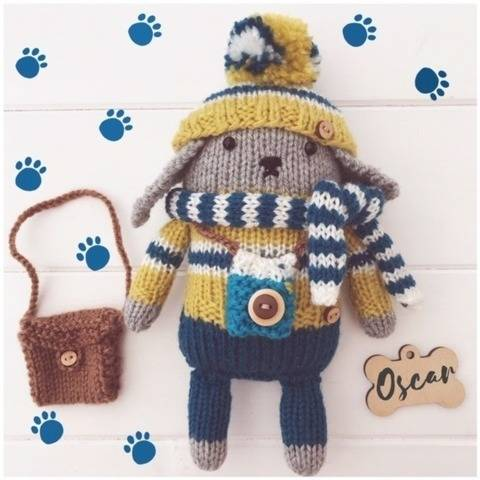 Knitted Mini Toy Puppy Dog 'Oscar' PDF Pattern